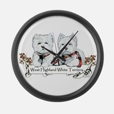 West Highland White Terriers Large Wall Clock