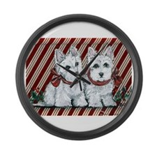 Candy Cane Westies Large Wall Clock