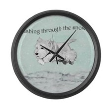 Westhighland Terrier Holiday Large Wall Clock