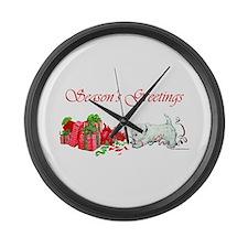 Westie Greetings Large Wall Clock