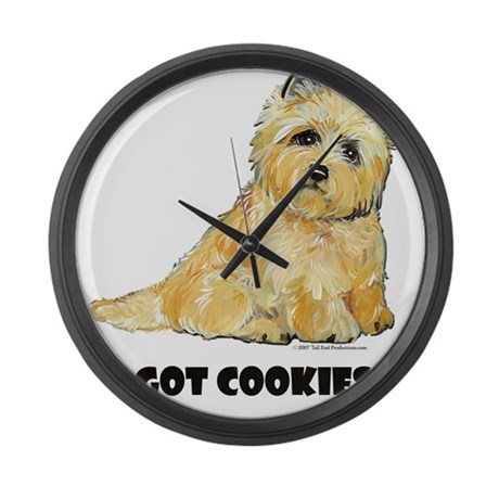 Cairn Terrier - Got Cookies? Large Wall Clock