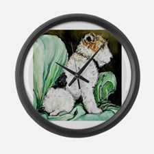 "Fox Terrier ""Waiting"" Large Wall Clock"