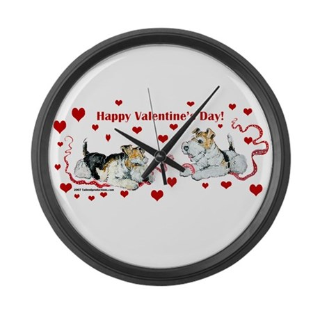 Fox Terrier Holiday Large Wall Clock