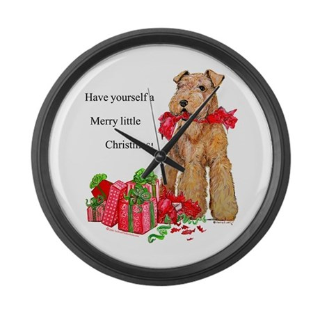 Airedale Terrier Christmas Large Wall Clock