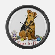 Welsh Terrier Playtime! Large Wall Clock