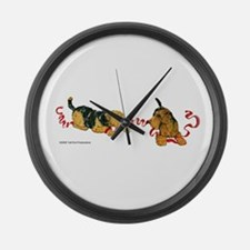 Welsh Terriers play to Win! Large Wall Clock