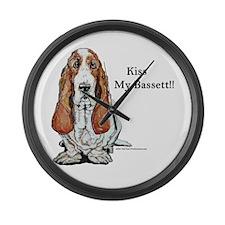 Kiss My Bassett!! Large Wall Clock