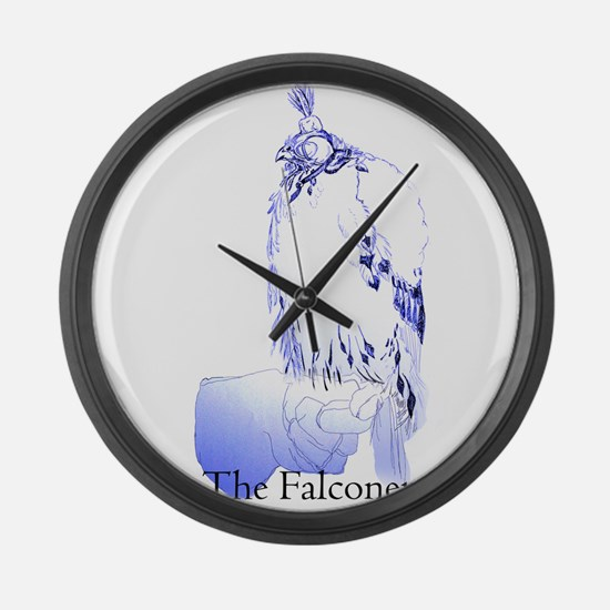 The Falconer in Blue - Birds Large Wall Clock