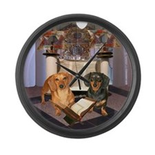 Jewish Dachshunds Large Wall Clock