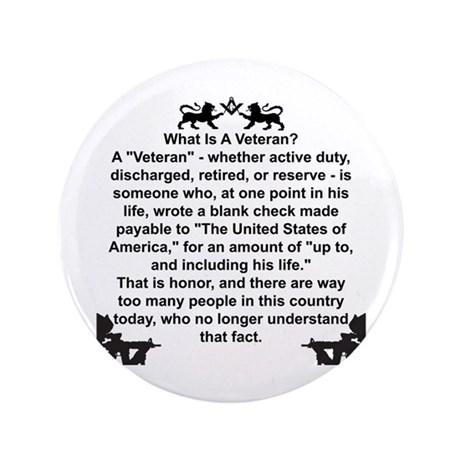 """What is a Veteran? 3.5"""" Button (100 pack)"""