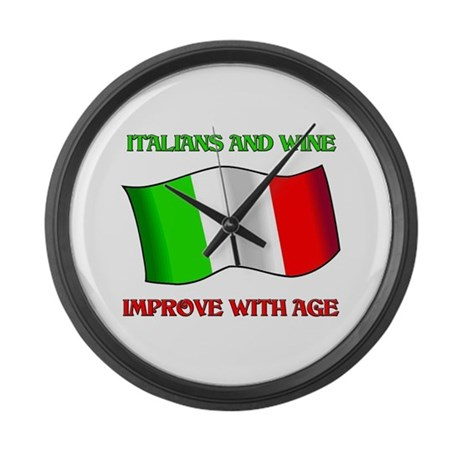 Italians And Wine Improve Wi Large Wall Clock