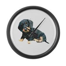 Black and Tan Wire Hair Large Wall Clock
