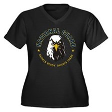 Fearless Eagle Women's Plus Size V-Neck Dark T-Shi