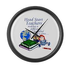 Cute Headstart teachers Large Wall Clock