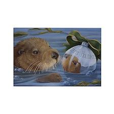 Christmas Otter Rectangle Magnet