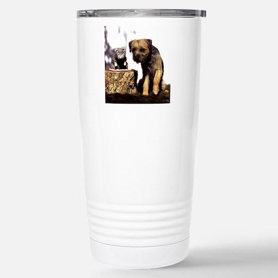 Border Terrier and Rat Stainless Steel Travel Mug