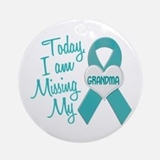 Missing My Grandma 1 TEAL Ornament (Round)