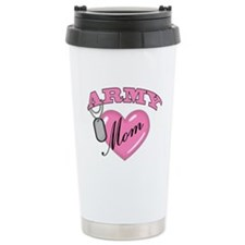 Army Mom Pink Heart N Dog Tag Travel Mug