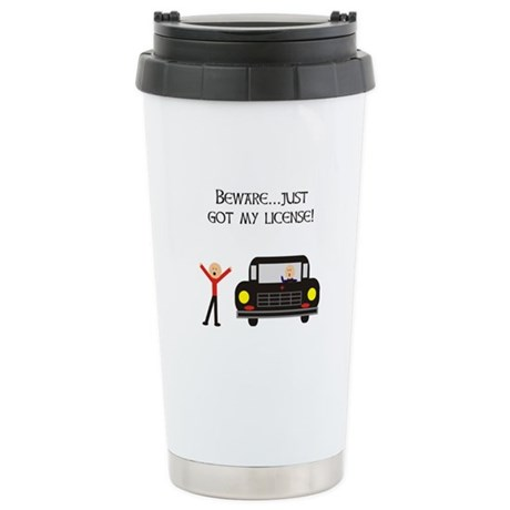 CAUTION NEW LICENSE Stainless Steel Travel Mug