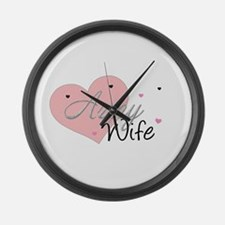 Army Wife Hearts Large Wall Clock