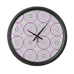 Pink & Black Retro Large Wall Clock