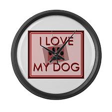 I Love My Dog Large Wall Clock