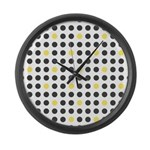 Mod Black Polka Dots Large Wall Clock