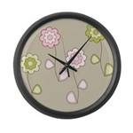 Pink & Green Retro Floral Large Wall Clock