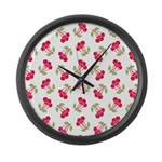 Cherries Pattern Large Wall Clock