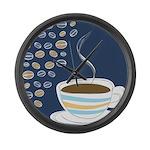 Retro Coffee Art Large Wall Clock