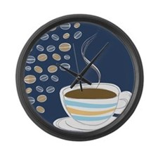 Retro Coffee Art Large Wall Clock