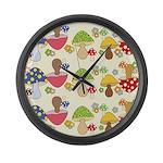 Magic Mushroom Art Large Wall Clock