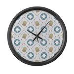 Vintage Tea Pattern Large Wall Clock