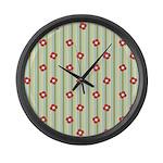 Retro Floral Stripe Large Wall Clock