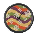 Floral Striped Hippie Art Large Wall Clock