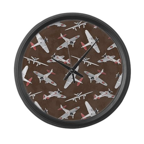Vintage WWII Aircraft Art Large Wall Clock