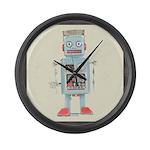 Retro Toy Robot Art Large Wall Clock