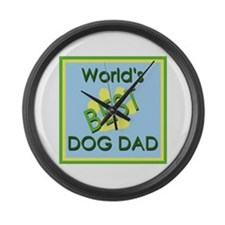 World's Best Dog Dad Large Wall Clock