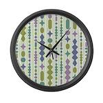 Green & Purple Modern Christm Large Wall Clock