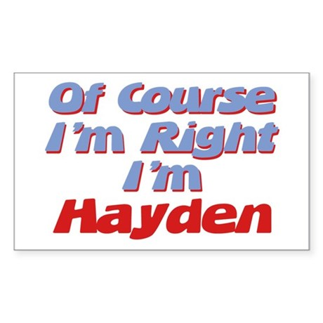 Hayden Is Right Rectangle Sticker
