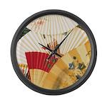 Vintage Japanese Fan Art Large Wall Clock