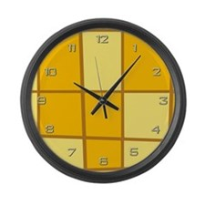 Yellow Grid Large Wall Clock