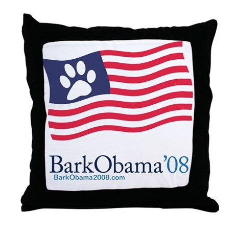 Bark Obama US dog flag Throw Pillow