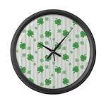St Patrick's Shamrock Pattern Large Wall Clock