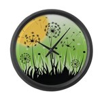 Fields of Dandelion Art Large Wall Clock
