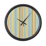 Orange, Yellow, Blue Stripe Large Wall Clock