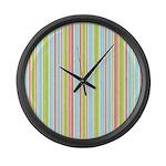 Pink, Blue, Green Stripe Large Wall Clock