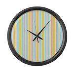 Pink, Yellow, Blue Stripe Large Wall Clock