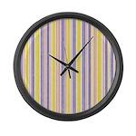 Pink, Purple, Yellow Stripe Large Wall Clock
