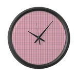 Pink Plaid Tartan Gingham Large Wall Clock